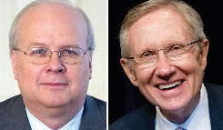 Karl Rove, left, advises American Crossroads, which has spent $480,000 on ads opposing Senate Majority Leader Harry Reid, right.