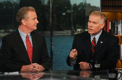 "Rep. Chris Van Hollen, D-Md., left, and Rep. Pete Sessions, R-Texas, who each oversee his party's funds, face off on Sunday's ""Meet the Press."""