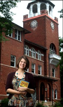 """Rachel Held Evans, author of """"Evolving: Growing Up in Monkey Town"""" at the Rhea County Courthouse, site of the Scopes Monkey trial, in Dayton, Tenn. She grew up as a creationist and now embraces evolution."""