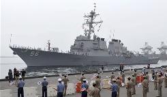 U.S. Navy's Aegis destroyer USS John S. McCain arrives for joint U.S.-South Korean military exercises at Donghae Harbor, South Korea, on Saturday.