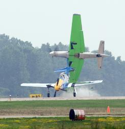 Two planes collide while landing July 27, 2007, in Oshkosh, Wis.