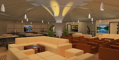 An artist rendering from Vivos shows the public lounge area in one of the company's proposed underground shelters.