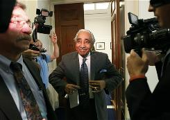 Rep. Charles Rangel, D-N.Y., leaves his office for a vote on Capitol Hill in Washington, Friday, July 30, 2010.