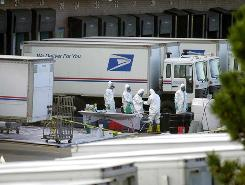 In 2001, workers prepare to test for anthrax at the Brentwood postal facility in Washington, D.C., after two workers there died of anthrax inhalation.