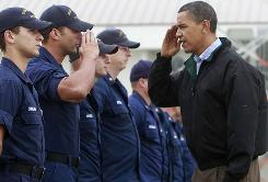 President Obama meets Coast Guard first responders in Venice, La., on May 2 as the area braced for the impact of the oil spill.