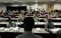 Thomas Snuffer tells troops at Fort Bragg, N.C., of the federal Transition Assistance Program, which eases the transition from military to civilian life.