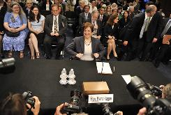 Elena Kagan prepares to testify on the second day of hearings before the Senate Judiciary Committee in Washington on June 29.