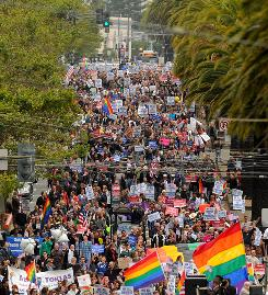 Hundreds in San Francisco on Wednesday celebrate repeal of California's same-sex marriage ban.