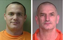 Tracy Province, left, was found and arrested Monday in Wyoming, but John McClusky is still on the run after the two men escaped from a prison in Arizona.