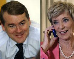 Incumbent Sen. Michael Bennet (D-Colo.), left, fended off a tough primary challenge while Linda McMahon, right, won the Republican Senate primary in Connecticut.