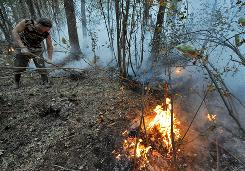 A man tries to extinguish a forest fire near the village of Zdorovie on Tuesday. Russia is starting to count the losses of the worst heat wave in its history.