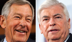 Sens. George Voinovich, left, and Chris Dodd.