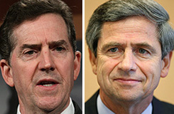 Left: Sen. Jim DeMint, R-S.C.. Right: Joe Sestak, Democratic candidate for Senate in Pennsylvania.