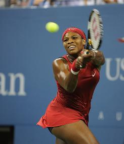 Serena Williams plays in the 2008 U.S. Open.
