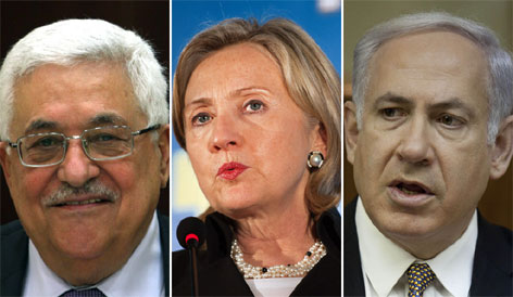 Secretary of State Hillary Rodham Clinton, center, plans to meet Sept. 2 with Palestinian President Mahmoud Abbas, left, and Israeli Prime Minister Benjamin Netanyahu, right.