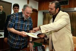In this photo released by the state media Cubadebate web site, Fidel Castro meets with author Daniel Estulin in Havana on Thursday.