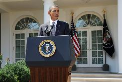 President Obama makes remarks on the economy in the Rose Garden on Monday. He will deliver an Oval Office address on Iraq on Tuesday.