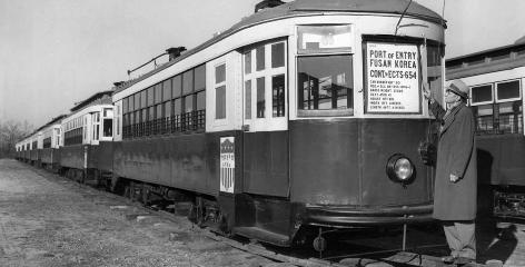 Electric streetcars on tracks increased in use for a brief period after World War II. Most, like these in Atlanta, were replaced by other forms of transportation.