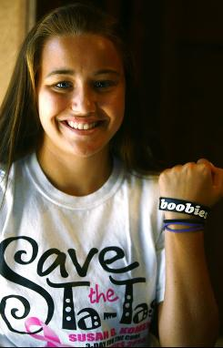 Amelia Atkins, 16, can't wear her cancer awareness bracelet to school in Baltic, S.D.