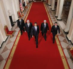 From left: Egyptian President Hosni Mubarak; Israeli Prime Minister Benjamin Netanyahu; President Obama; Palestinian President Mahmoud Abbas; Jordan's King Abdullah II. The leaders made statements in the East Room of the White House.