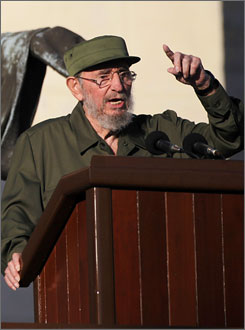 Castro delivers a speech to students outside Havana's University in Havana on Friday.