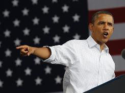 President Obama gestures as he speaks on the economy at the Milwaukee Laborfest this week in Wisconsin.