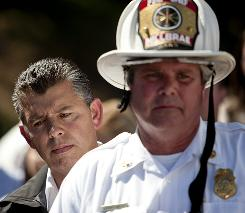 Lt. Gov. Abel Maldonado and San Bruno Fire Chief Dennis Haag take questions from reporters the day after an explosion in San Bruno, Calif.