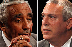Rep. Charles Rangel, left, was rocked by ethics charges that have become a national talking point for Republicans this year. Adam Clayton Powell, right, a state lawmaker, is the son of a legendary Harlem congressman, Adam Clayton Powell Jr., whom Rangel beat for the seat in the 1970 Democratic primary.