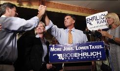 Former Maryland Republican governor Bob Ehrlich is congratulated by a supporter as he claims the Republican nomination during a victory party at the Ropewalk Tavern in Baltimore on Tuesday.