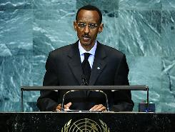 Rwanda's President Paul Kagame addresses the 65th General Assembly at the United Nations headquarters in New York, Friday.