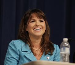 Republican Senate candidate Christine O'Donnell answers a question during a debate Thursday in Wilmington, Del.