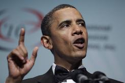 President Obama speaks at a dinner held by the Congressional Black Caucus Foundation Saturday night.