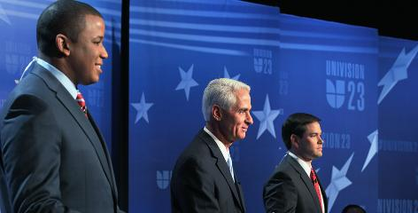 From left, U.S. Rep. Kendrick Meek, D-Fla.; Florida Gov. Charlie Crist, an independent; and former state House speaker Marco Rubio, a Republican, faced off at the Univision Network studios on Sept. 17 in Miami.