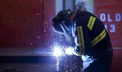 Gary Jarvis, 53, who used to work for the Herrin, Ill., Maytag plant before it was shuttered in 2006, received new training to make a living as a welder.