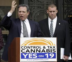 Oakland City Attorney John Russo, left, and ex-Sutter County sheriff's deputy Nate Bradley support Prop 19.