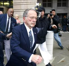 Sen. Ted Stevens, R-Alaska, leaves federal court in Washington, in 2008, after a guilty verdict was returned by the jury at his trial. The verdict was overturned months later when a judge found prosecutors hid evidence.
