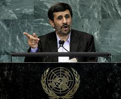 Mahmoud Ahmadinejad, President of Iran, addresses the 65th session of the United Nations General Assembly at U.N. headquarters Thursday.