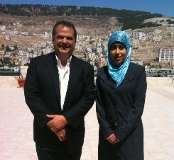 Nice to meet you: Steve Strauss and Hayfa' Mobarakah.