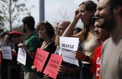 Protesters gathered Thursday at the opening of the SugarHouse Casino in Philadelphia.