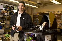 Amir Abo-Shaeer, with PenguinBot 4 in the Physics lab at Dos Pueblos High school, is the first high school teacher to win the MacArthur Foundation grant.