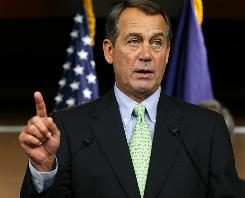 House Minority Leader John Boehner spoke at a news conference Thursday in Washington to promote the GOP agenda.