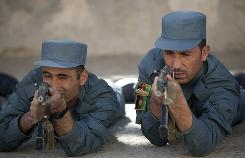 Afghan police recruits undergo training at the Afghan Police Academy on Tuesday in  Kabul.