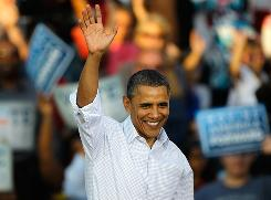 President Obama during a rally in Philadelphia on Sunday. In recent days, Obama has argued foreign money was funding conservative campaign ads.