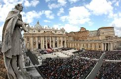 People attend the canonisation ceremony celebrated by Pope Benedict XVI in St. Peter's Square on Sunday in Vatican City, Vatican. The pontiff named six new saints today.
