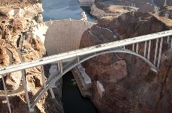 The Mike O'Callaghan-Pat Tillman Memorial Bridge rises 890 feet above the Colorado River.