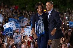 President Obama and first lady Michelle Obama arrive to speak during a rally for the Democratic National Committee at Ohio State University in Columbus, Ohio, Sunday, 2010.