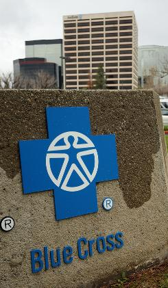 The Anthem Blue Cross headquarters is seen in February in Woodland Hills, Calif. 