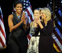 Michelle Obama, actress Sarah Jessica Parker, center, and Jill Biden attend a Democratic fundraiser Monday in New York.