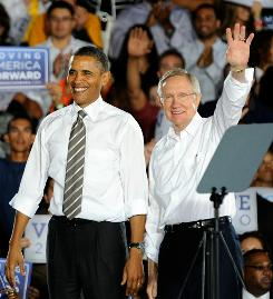 President Obama and Senate Majority Leader Harry Reid of Nevada appear at a campaign rally in Las Vegas on Friday.