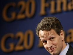 Treasury Secretary Timothy Geithner listens to questions at a press conference during the G20 Finance Ministers and Central Bank Governors meeting at a hotel in Gyeongju, South Korea, Saturday.